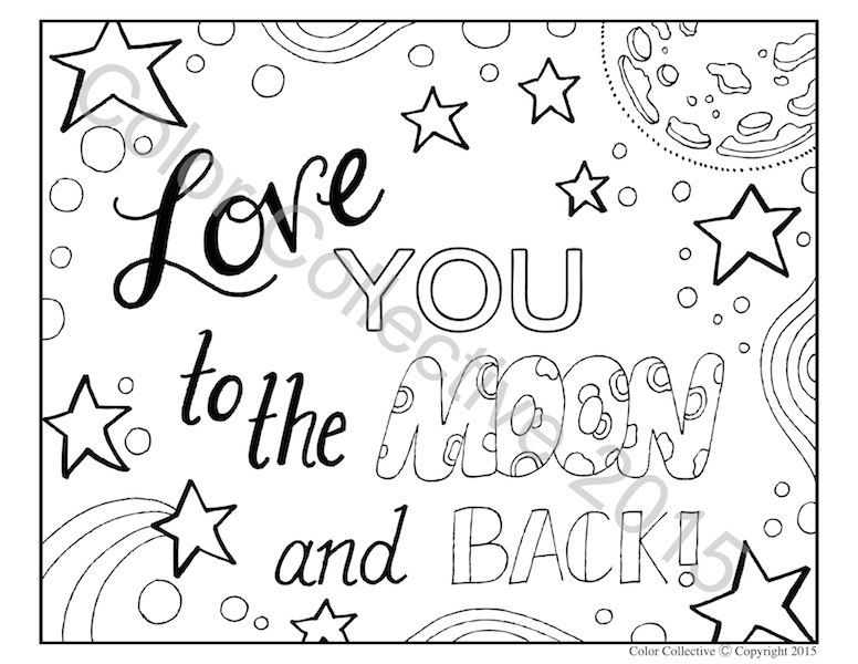 776x600 Adult Coloring Page Digital Download Love You To The Moon