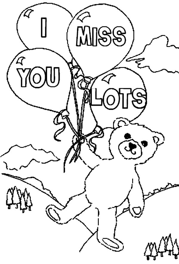 600x882 Teddy Holding Four Balloons I Miss You Coloring Pages Batch Coloring