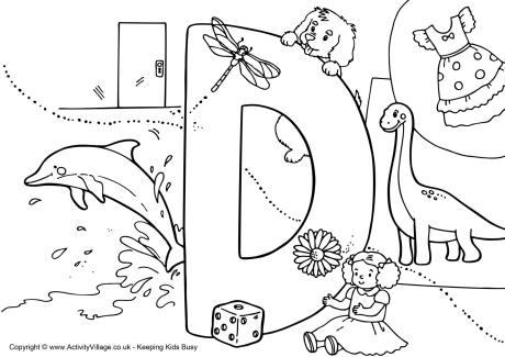 460x325 I Spy Alphabet Colouring Page D Preschool