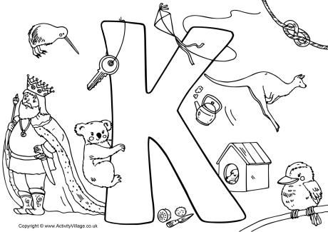 460x325 I Spy Alphabet Colouring Page K Letter K Coloring Page
