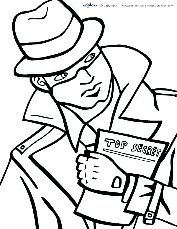 600x777 Spy Kids Coloring Pages Printable Spy Detective Coloring Page