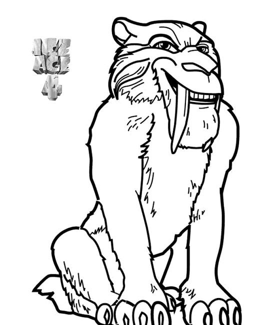 554x650 Ice Age Coloring Pages Diego Cartoon Ice Age