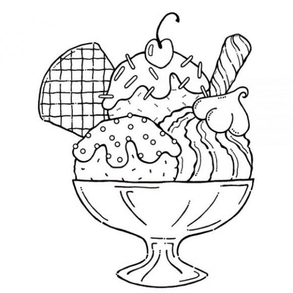 580x580 Ice Cream Sundae Coloring Page Yummy Ice Cream Sundae Coloring