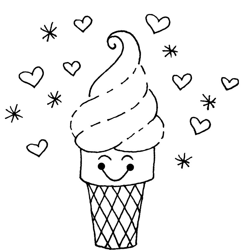 836x858 Ice Cream Coloring Pages