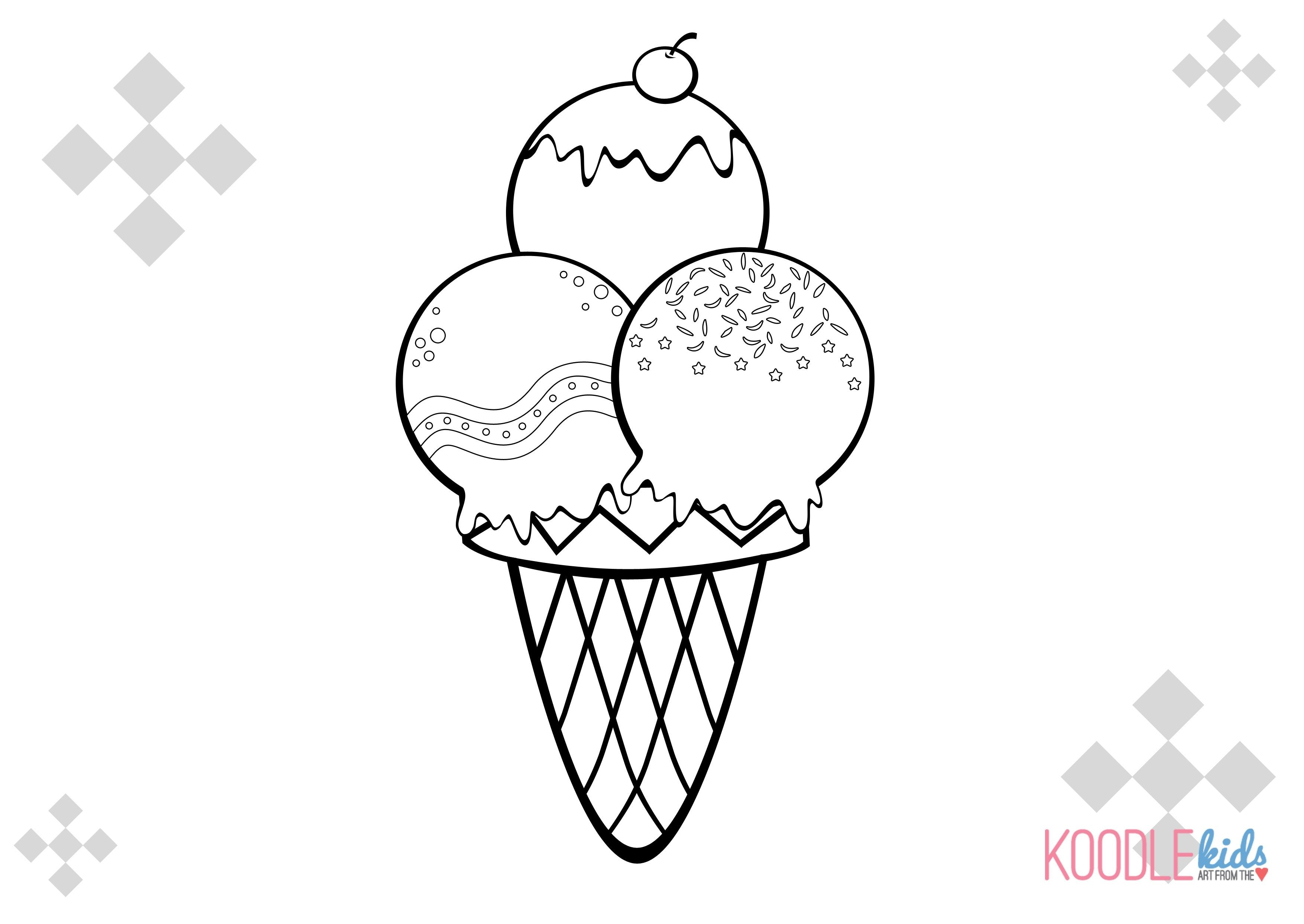 3510x2490 Ice Cream Cones Coloring Pages Gallery Coloring For Kids