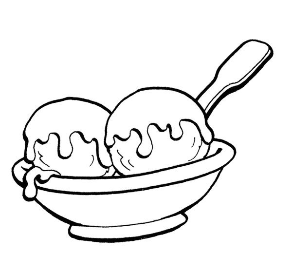 600x523 Two Ice Cream Scoops Coloring Page