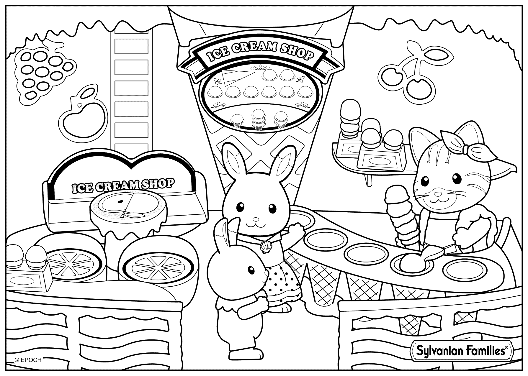 1789x1275 Ice Cream Shop For Sylvanian Families Coloring Pages