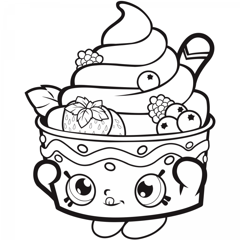 768x768 Ice Cream Sundae Free Coloring Page Kids, Shopkins Coloring Pages