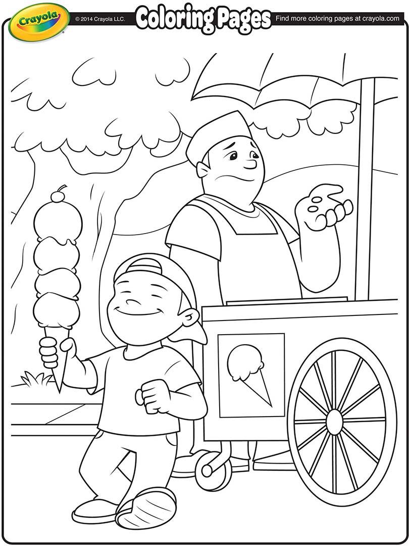 810x1080 Ice Cream Vendor Coloring Page