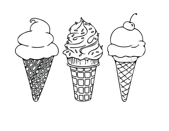 570x440 Printable Coloring Sheet Instant Download Ice Cream Cones