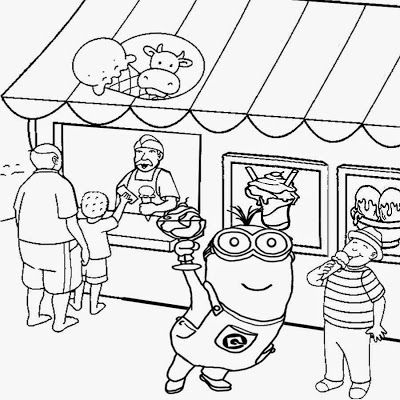 400x400 Seaside Shop Ice Cream Party Two Eyed Minion Coloring Pages