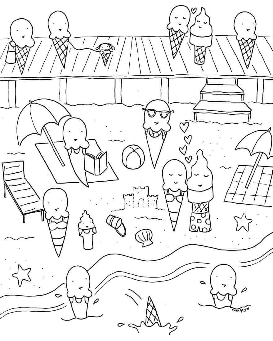 880x1100 Free Printable Summer Coloring Pages