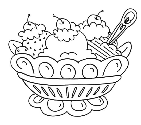 600x533 Ice Cream Sundae Coloring Page Banana Split And Ice Cream Coloring