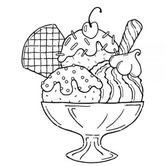 580x580 Ice Cream Sundae Coloring Page Yummy Ice Cream Sundae Coloring
