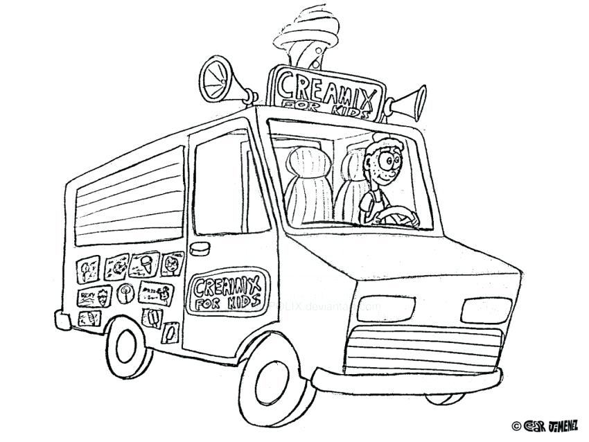 850x638 Ice Cream Truck Coloring Page Cute Coloring Coloring Pages