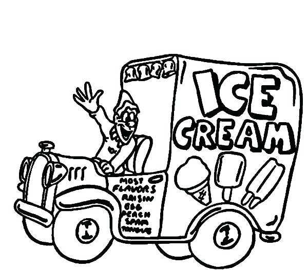 600x526 Ice Cream Truck Colouring Page And Ice Cream Truck Coloring Pages
