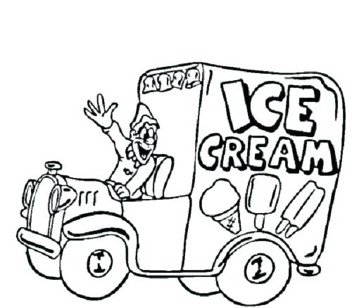 500x438 Truck Coloring Pages Ice Cream Truck Coloring Sheet Plus Ice Cream