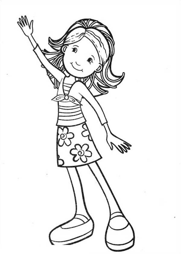 600x840 Groovy Girls Waving Hand Coloring Pages Batch Coloring