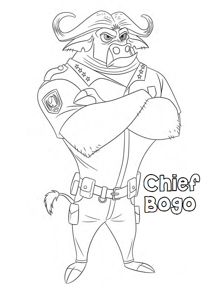 700x934 Zootopia Coloring Pages Chief Bogo For Kids