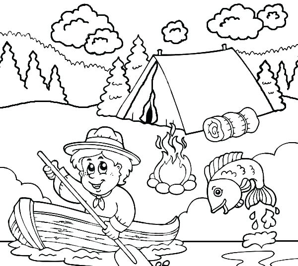 600x537 Boy Fishing Coloring Pages
