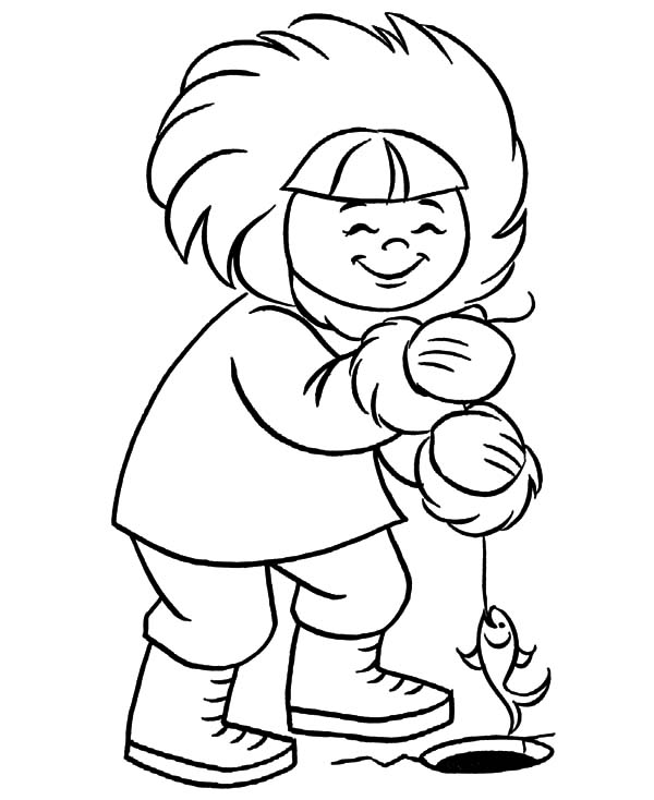 600x734 Eskimo Girl Ice Fishing Coloring Pages