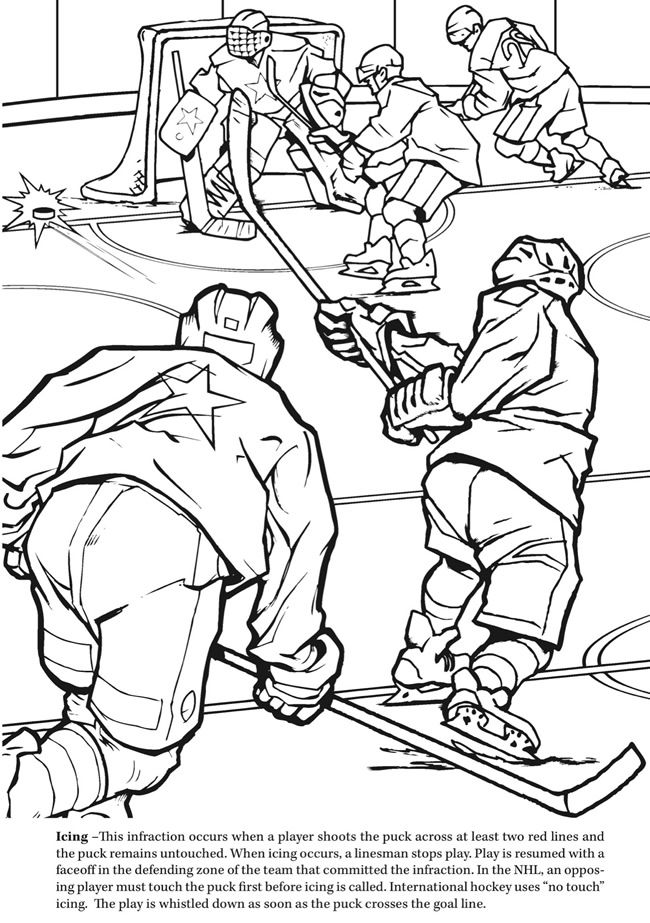 650x923 Goal! The Hockey Coloring Book Dover Publications Sports