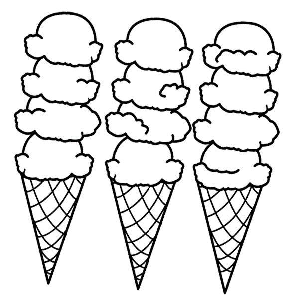 600x608 Big Ice Cream Cones Coloring Page Coloring Sheets