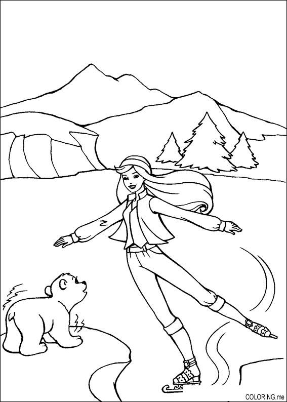 567x794 Coloring Page Barbie Ice Skating