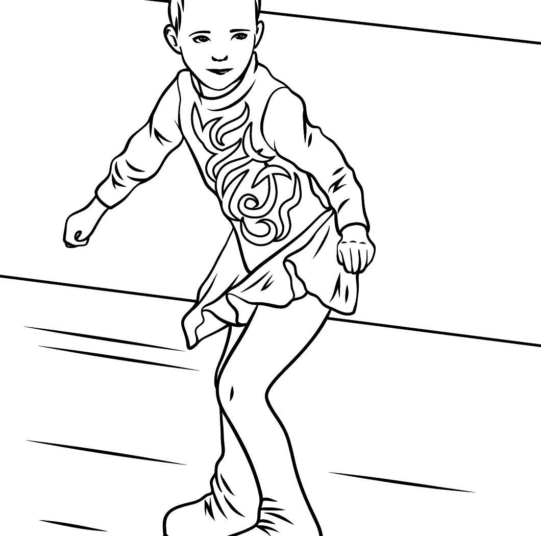 1060x1050 Hand Drawn Coloring Page Of Girl Ice Skating Stock Pages Figure