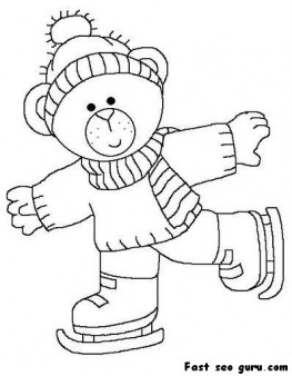 263x338 Printable Cute Bear On Ice Skates Coloring Page