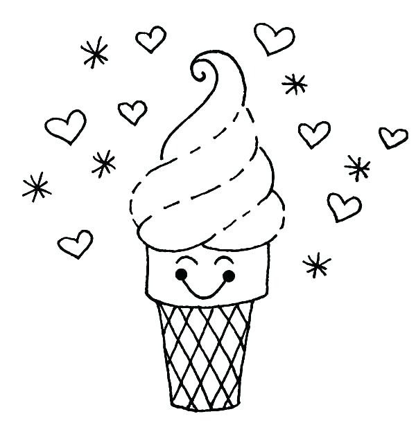 600x637 Beautiful Ideas Ice Cream Cone Printable Coloring Pages Drawn