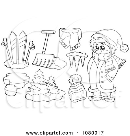 450x470 Clipart Outlined Winter Man With Skis Shovel Icicles And A Hat