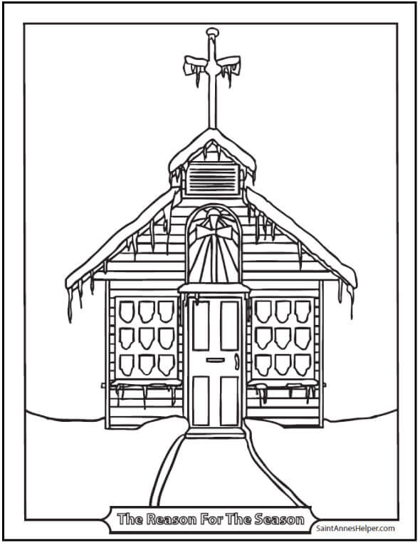 590x762 Church Coloring Page Snow And Frosted Windows