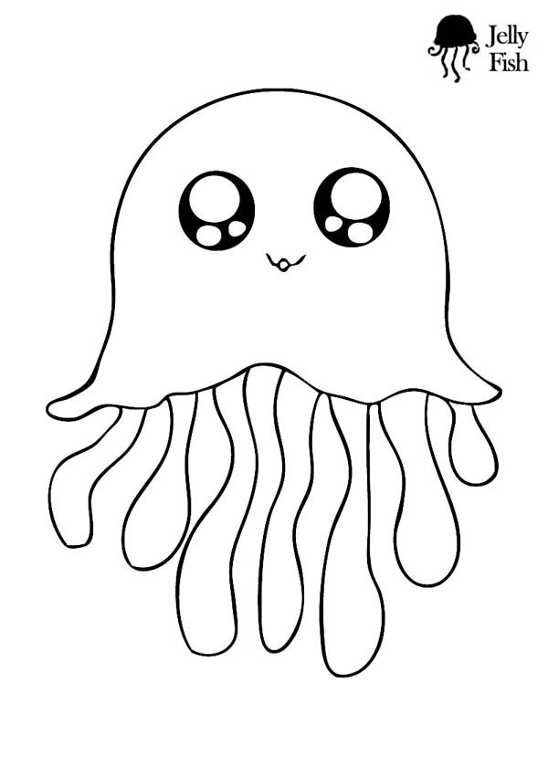 600x840 Jellyfish Cute Icon Coloring Page