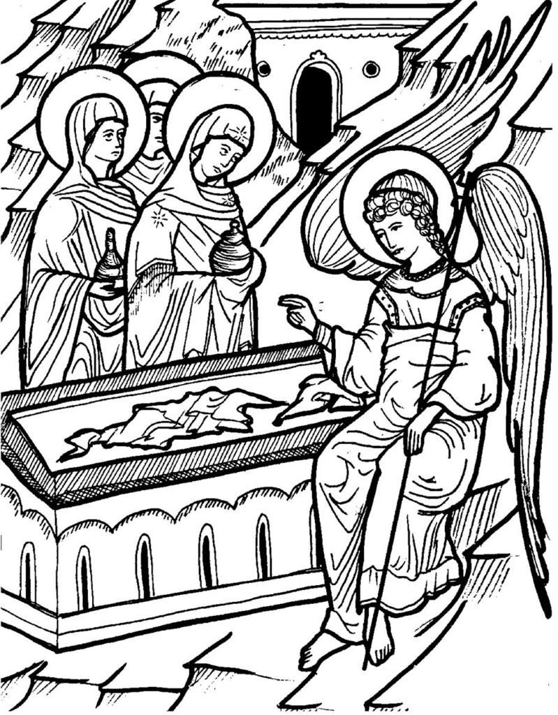 799x1024 Myrrhbearers Icon Coloring Page Sunday School Orthodox Style