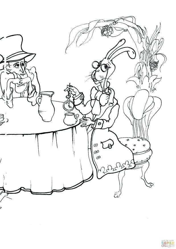 618x874 Mad Hatter Coloring Pages In Addition To Click To See Printable