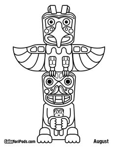 236x305 Totem Poles Carved From Large Tree Coloring Page Coloring Pages
