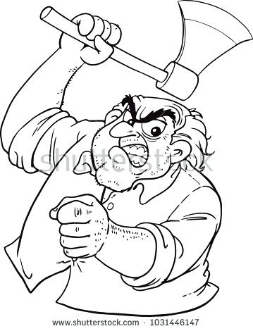 359x470 Icp Hatchet Man Coloring Pages Angry Stock Vector
