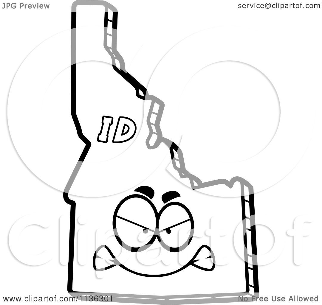 1080x1024 Cartoon Clipart Of An Outlined Mad Idaho State Character