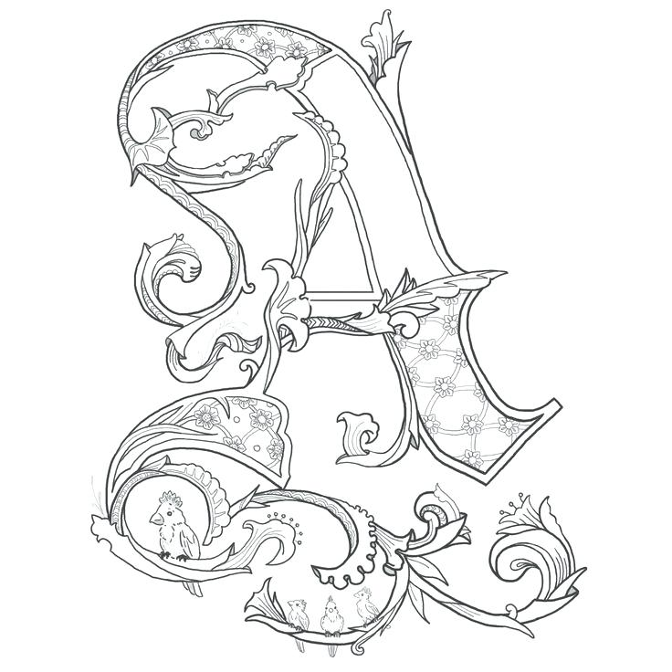 The best free Illuminated coloring page images. Download ... Meval Illuminated Letter E Templates on