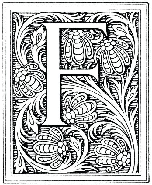 The best free Illuminated coloring page images. Download ... Illuminated Mcript Letter Templates Children on