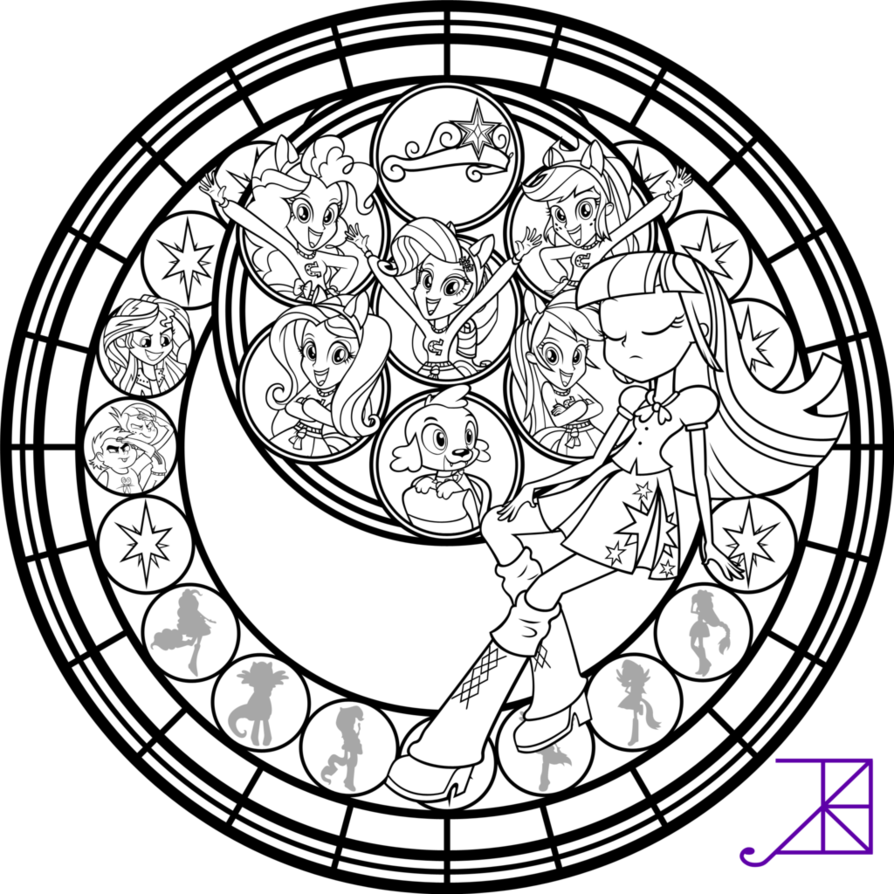 894x894 Equestria Girls Stained Glass Coloring Page