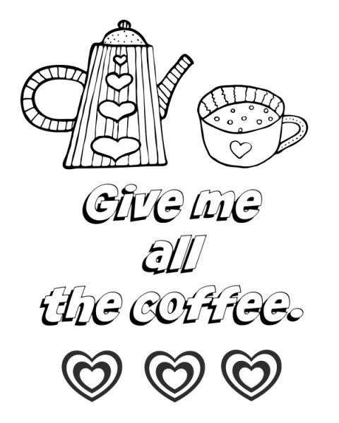 480x600 All About Coffee Adult Coloring Pages