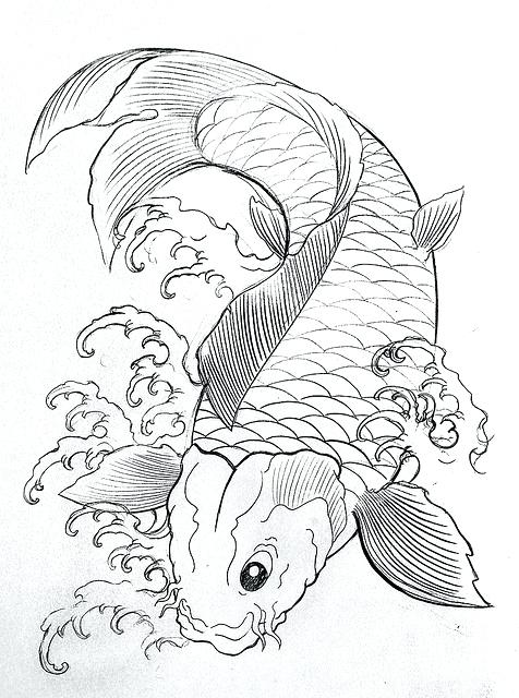 476x640 Koi Fish Coloring Page Fish Coloring Pages Sketch Realistic Koi