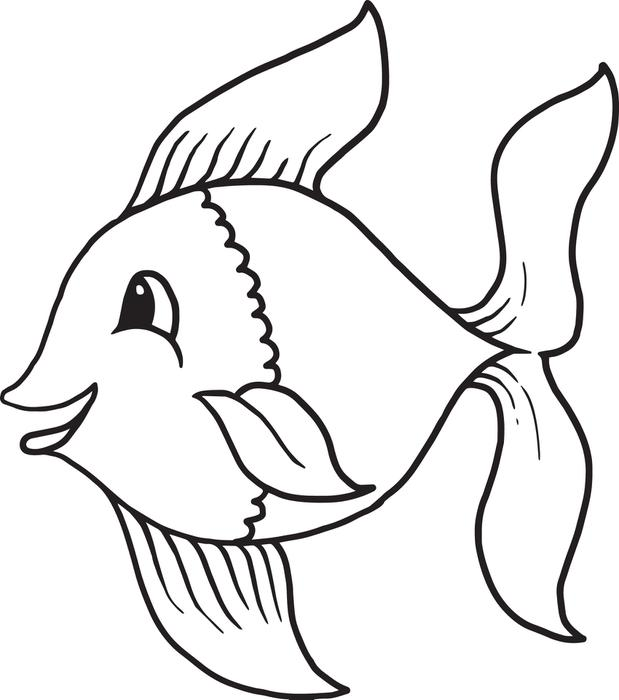 619x700 Cartoon Fish Coloring Pages Free Printable Cartoon Fish Coloring