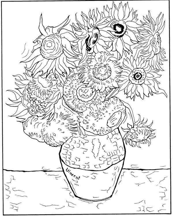 600x750 Coloring Page Vincent Van Gogh Kids N Fun Printables