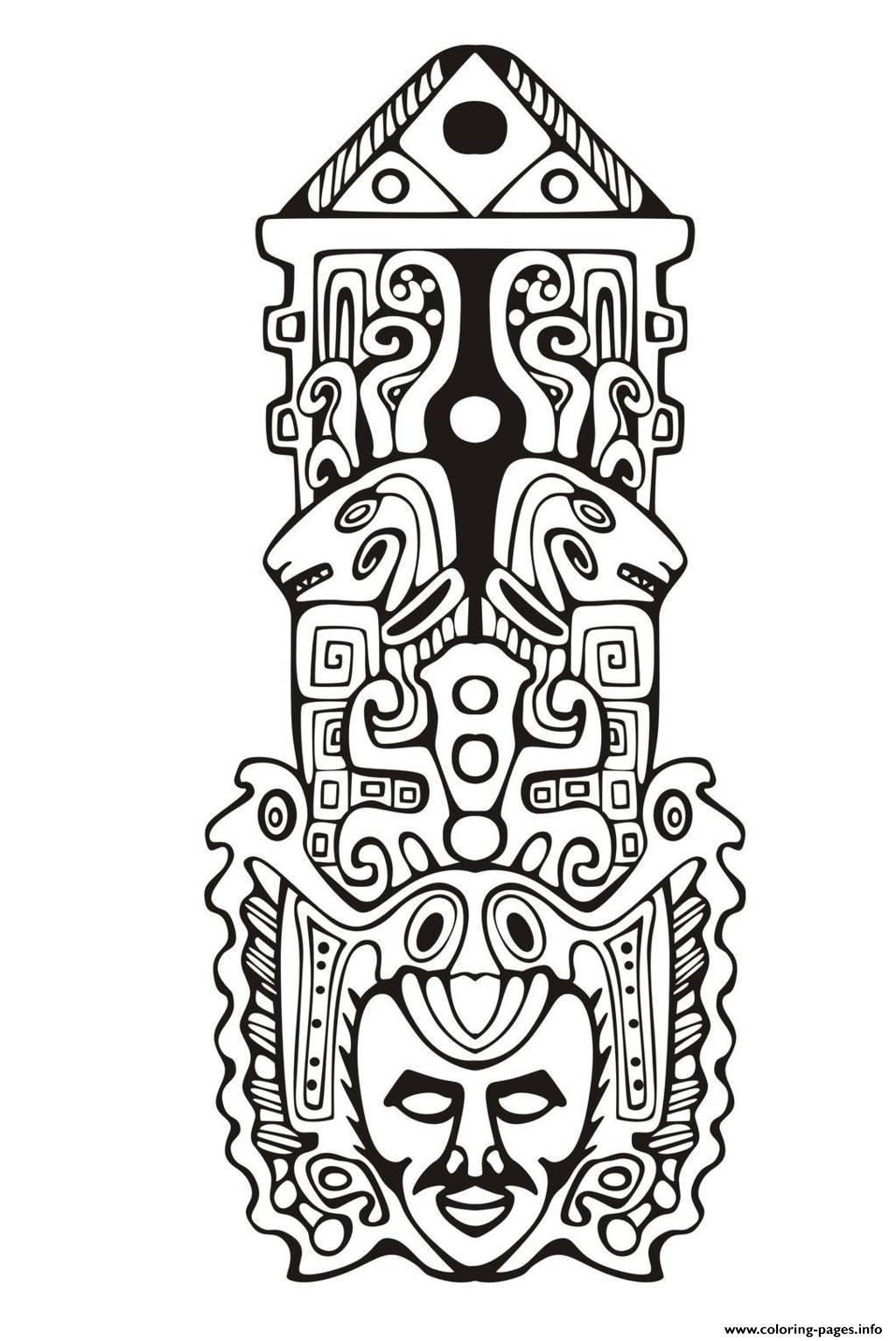 1024x1532 Adult Totem Inspiration Inca Mayan Aztec Coloring Pages Printable
