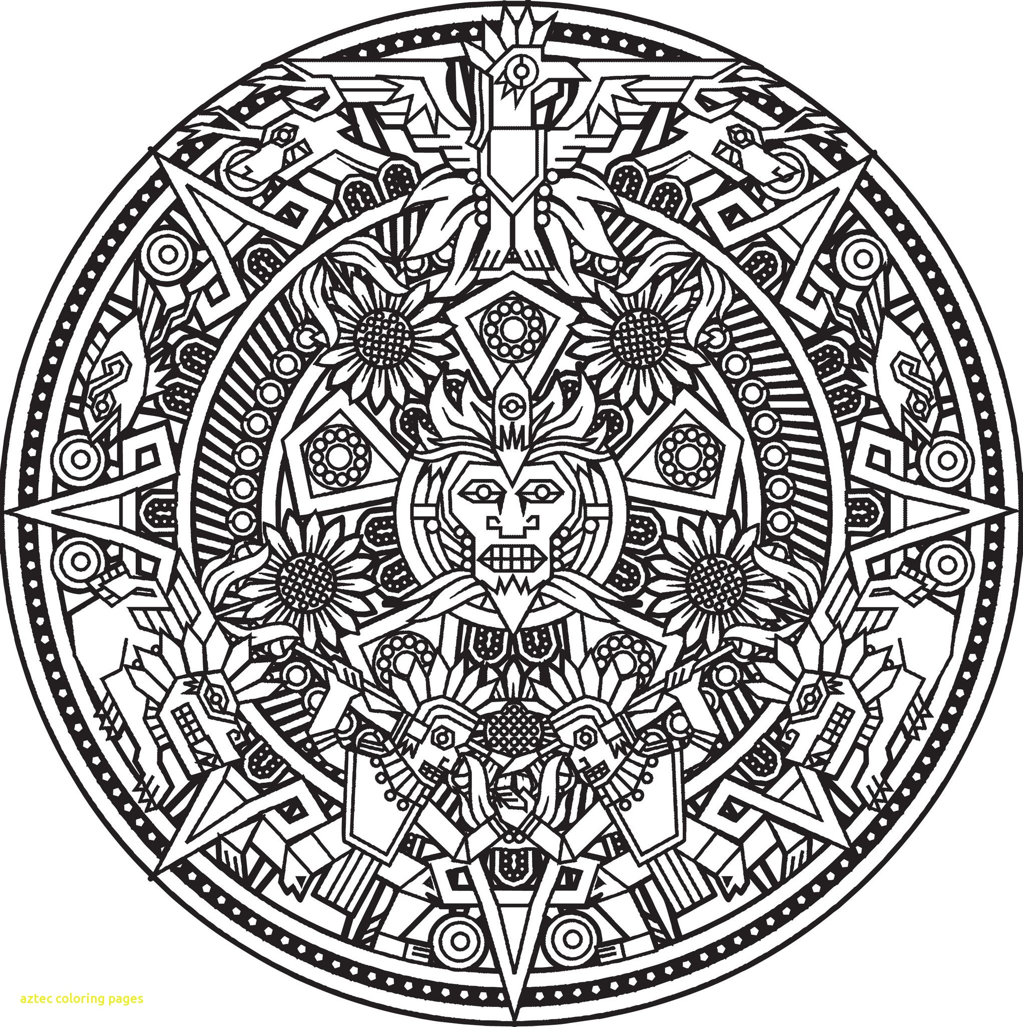 2044x2052 Aztec Coloring Pages With Mandala Inca Or Maya God To Color