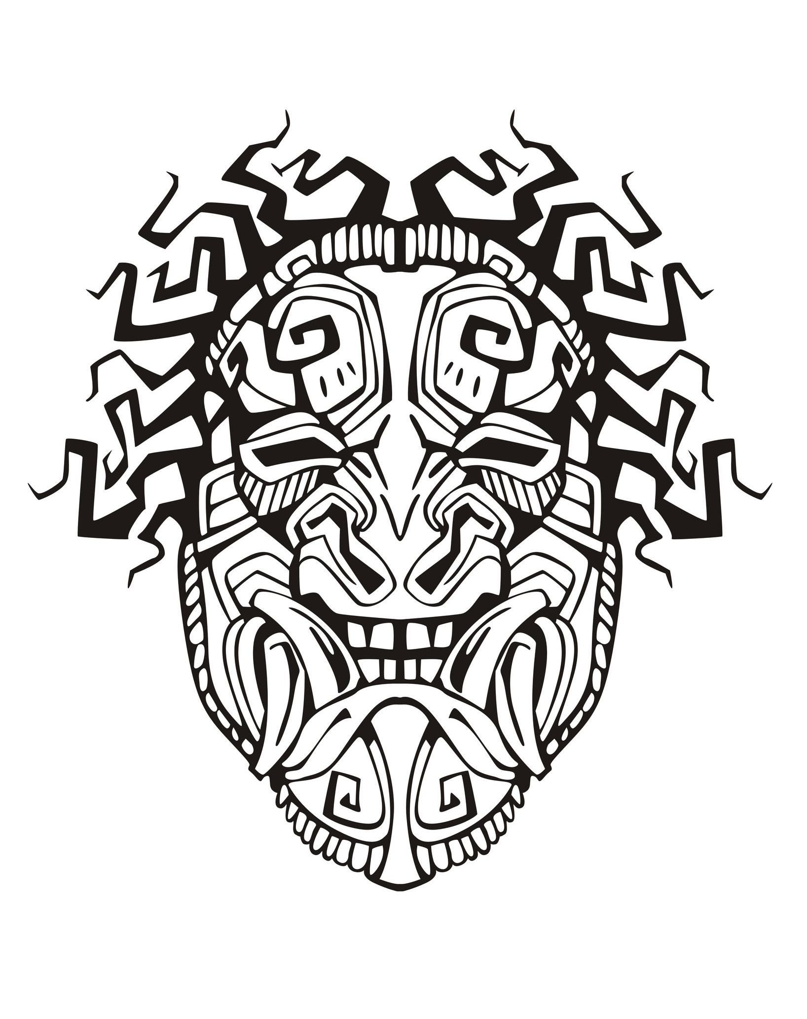 1636x2065 Free Coloring Page Coloring Adult Mask Inspiration Inca Mayan