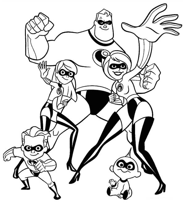 600x662 The Incredibles Whole Family Coloring Page